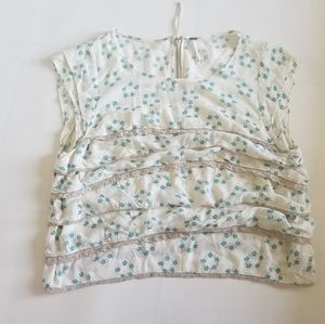Free people  Floral short sleeve shirt